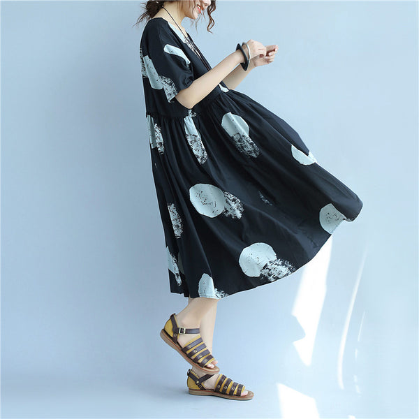 Printing Women Loose Casual Cotton Folded Summer Black Dress - Buykud