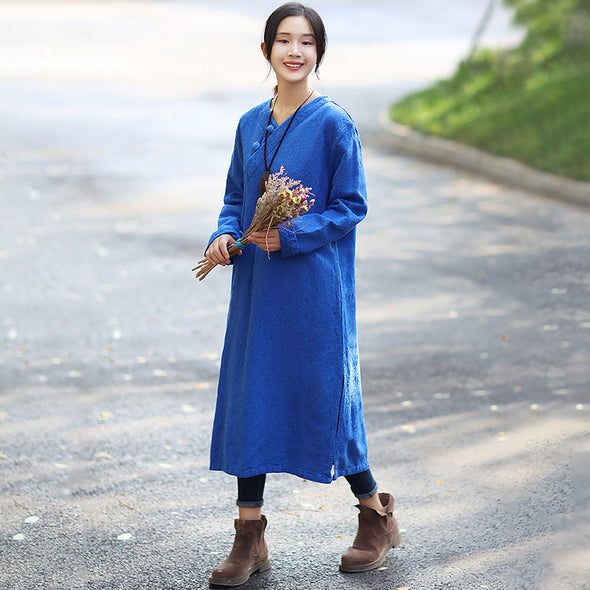 Retro Long Sleeve Pockets Frogs Side Slit Blue Dress - Buykud