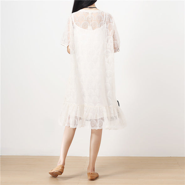 Stylish Jacquard Sweet Women Short Sleeves Loose Women Dress - Buykud