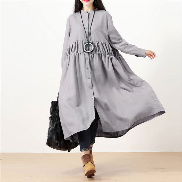 Women Ramie Stand Collar Cardigan Solid Gray Long Sleeve Dress - Buykud
