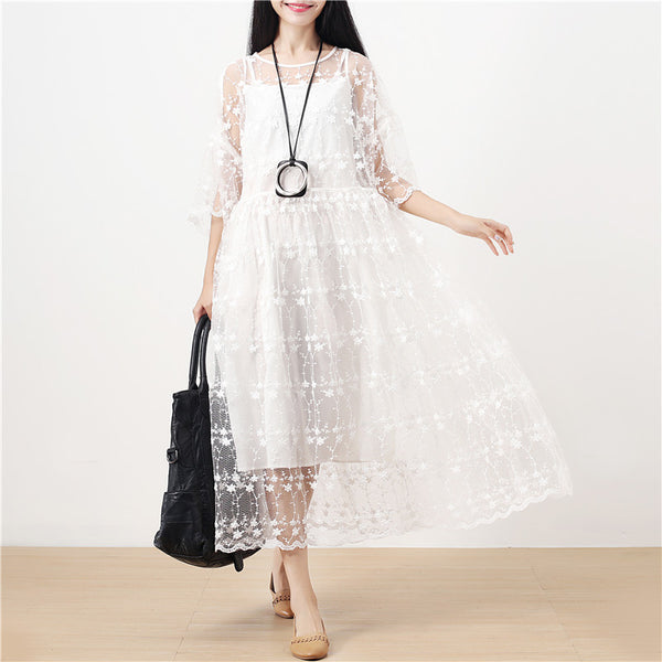 Sweet Jacquard Elegant White Floral Women Two Pieces ( Vest+Dress) - Buykud