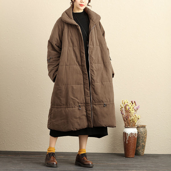 Fashion Women Polyester Side Pockets Coffee Winter Thick Long Coat - Buykud
