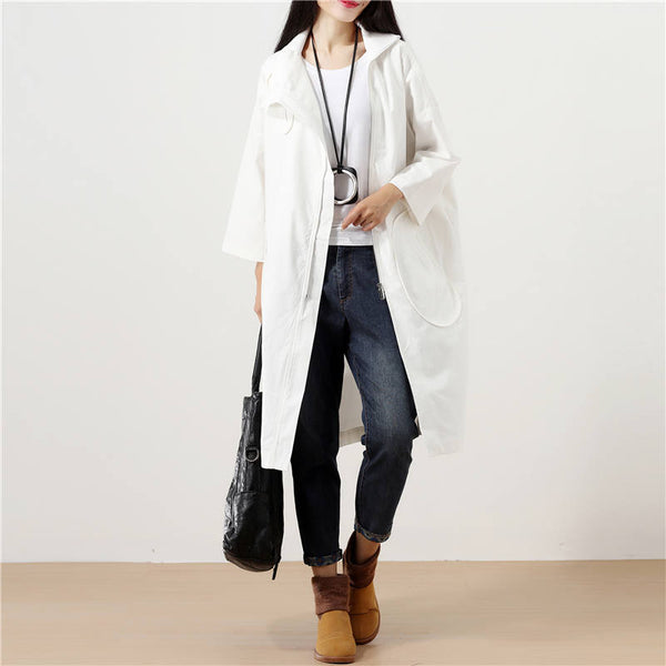 Literature Long Sleeve Zipper Back Slit White Women Blouse - Buykud