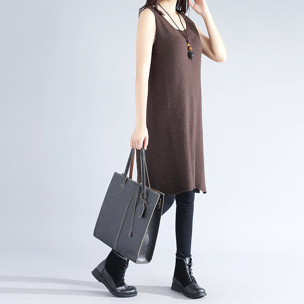 Sleeveless Literature Cotton Polyester Elegant Coffee Women Sweater Dress - Buykud