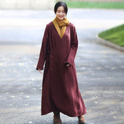 Retro Long Sleeve Pockets Lacing Embroidery Wine Red Coat - Buykud