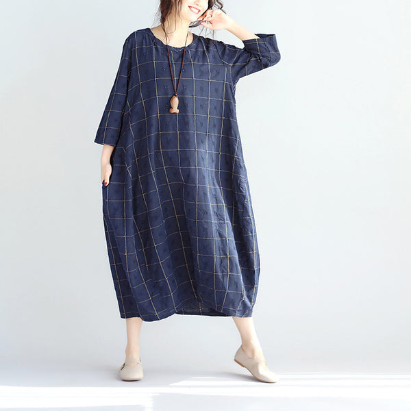 Round Neck Loose Lattice Women Navy Blue Dress