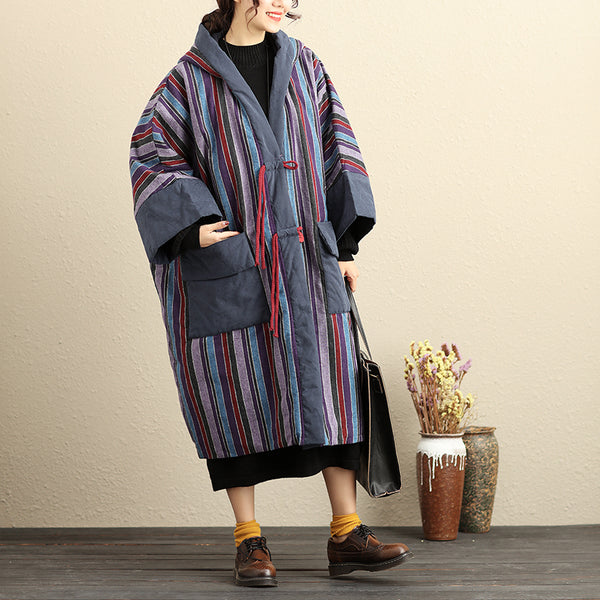Hooded Vertical Colorful Stripes Loose Large Size Thick Solid Cotton Women Coat - Buykud