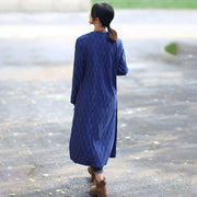 Chic Jacquard V Neck Long Sleeve Lacing Blue Dress Outerwear For Women - Buykud
