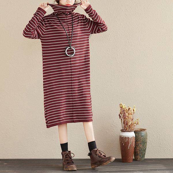 Casual Stripes Turtle Neck Long Sleeve Women Autumn Dress