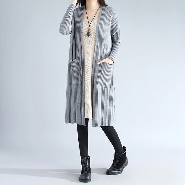 Double Pocket Autumn Elegant Women Cardigan Gray Coat - Buykud