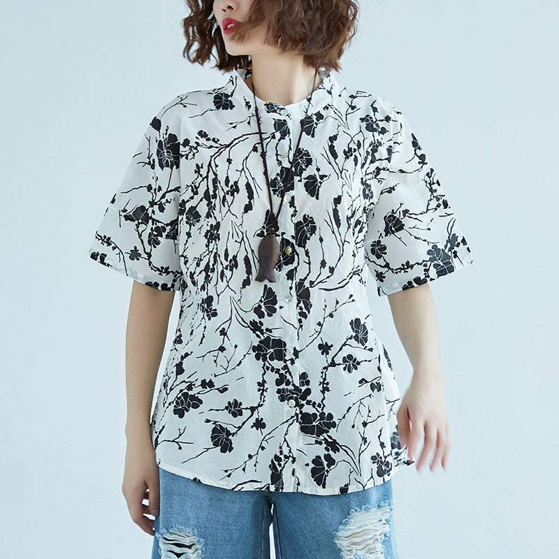 Women Single Breasted Short Sleeve White Tops Blouse - Buykud