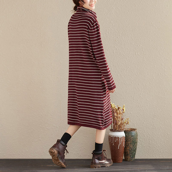 Casual Stripes Turtle Neck Long Sleeve Women Autumn Dress - Buykud