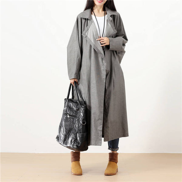 Women Polo Collar Cardigan Solid Gray Casual Pockets Coat