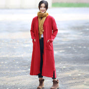 Red Retro Pockets Side Slit Long Sleeve Plain Cardigan Coat - Buykud