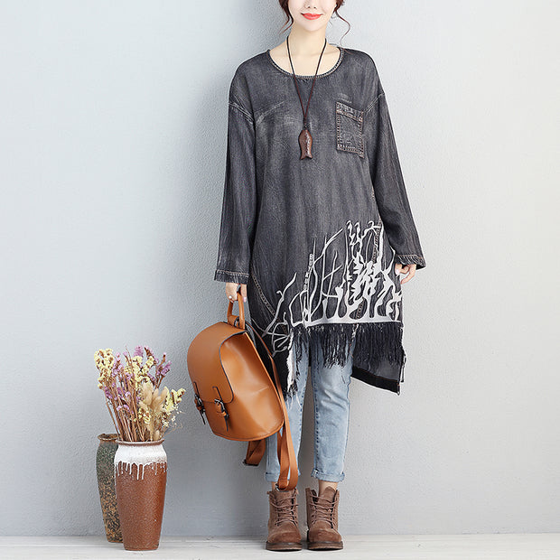 Autumn Loose Embroidered Long Sleeve Dress For Women - Buykud