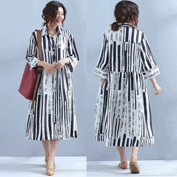 Printing Casual Stripe Women Loose Dress - Buykud