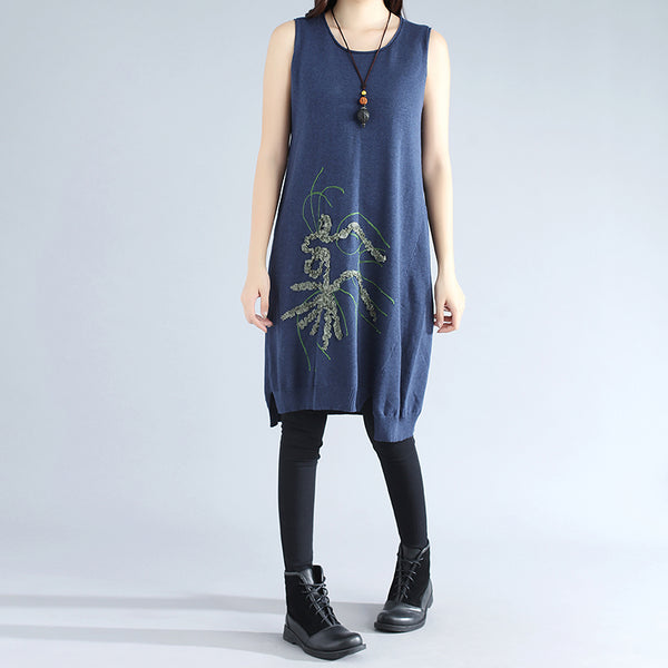 Women Retro Sleeveless Applique Irregular Blue Sweater Dress - Buykud