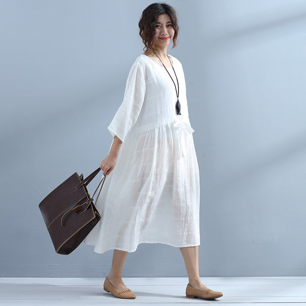 Round Neck Linen Women Lacing Casual White Dress - Buykud