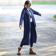 Red Retro Pockets Side Slit Long Sleeve Plain Cardigan Coat