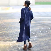 Navy Blue Retro Pockets Side Slit Long Sleeve Plain Cardigan Coat - Buykud