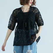Women V Neck Embroidery Black Two Piece Set Tops - Buykud