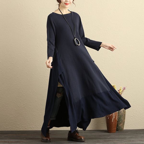 Boat Neck Long Sleeve Knitted Stripe Irregular Hem Navy Blue Dress
