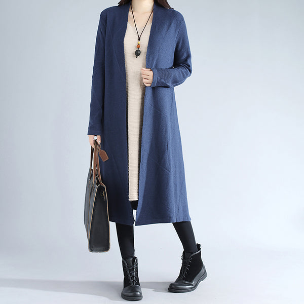 Women Autumn Simple Long Sleeve Knitted Blue Coat - Buykud