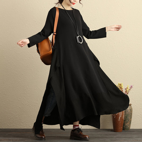 Boat Neck Long Sleeve Knitted Stripe Irregular Hem Black Dress