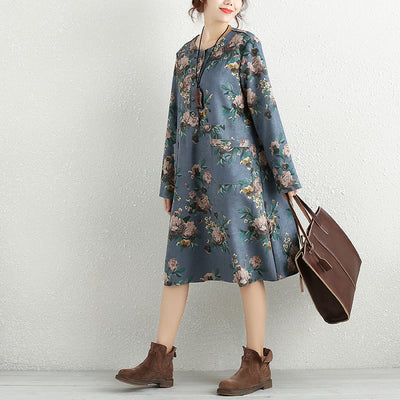 Retro Printing Floral Buttons Pockets Long Sleeve Dress - Buykud