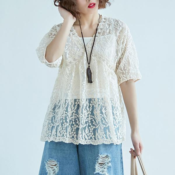 Women V Neck Embroidery Two Piece Set Tops
