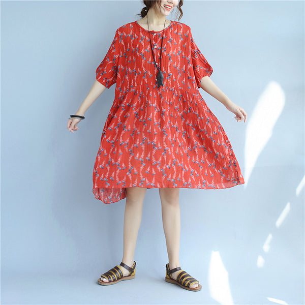 Floral Printing Loose Casual Summer Women Cotton Folded Red Dress - Buykud