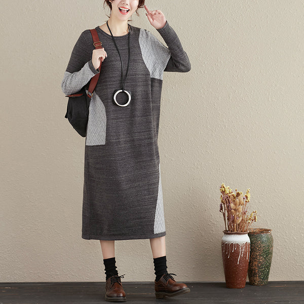 Women Round Neck Loose Winter Gray Knitted Dress - Buykud