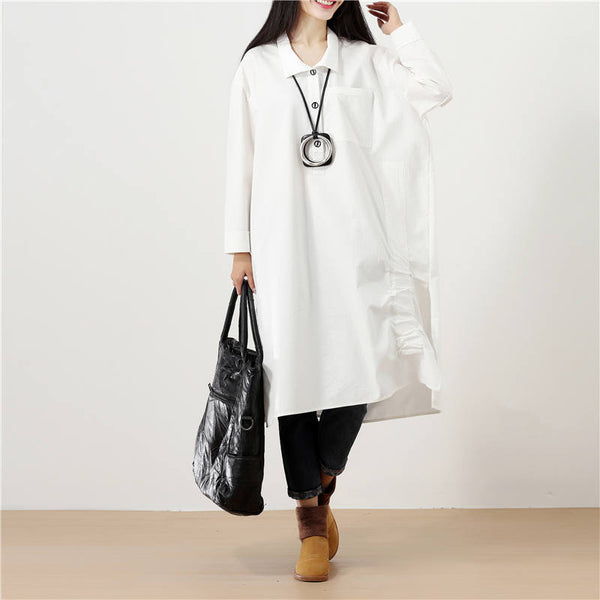 Polo Collar Solid White Long Sleeve Pockets Buttons Side Slit Dress - Buykud