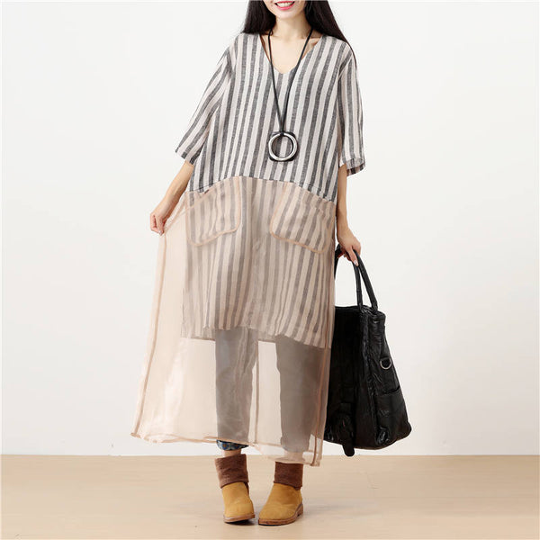 Literature V Neck Splicing Short Sleeves Loose Women Black Stripe Dress - Buykud