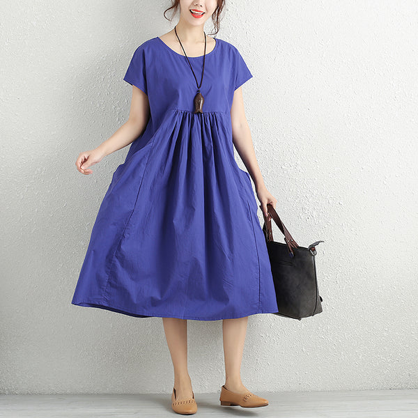 Summer Literature Round Neck Short Sleeve Blue Pleated Dress For Women - Buykud