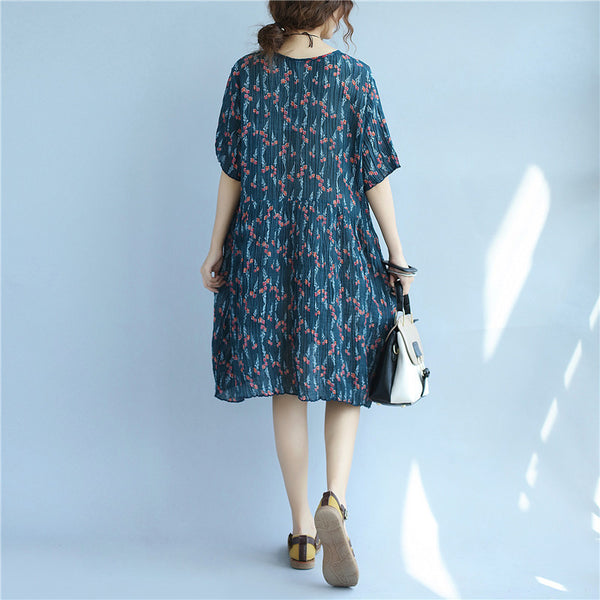 Floral Printing Loose Casual Summer Women Cotton Folded Blue Dress - Buykud