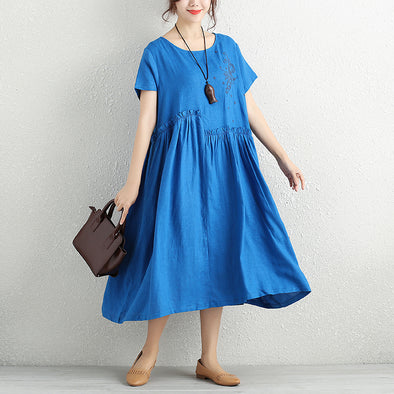 Fashionable Chic Embroidery Pleated Linen Blue Dress For Women - Buykud