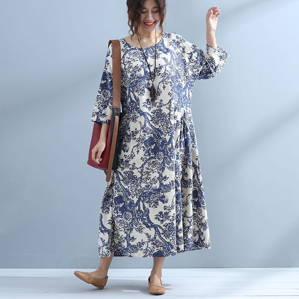 Round Neck Loose Printing Women Casual Dress - Buykud