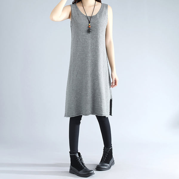 Sleeveless Literature Cotton Polyester Elegant Light Gray Women Sweater Dress - Buykud