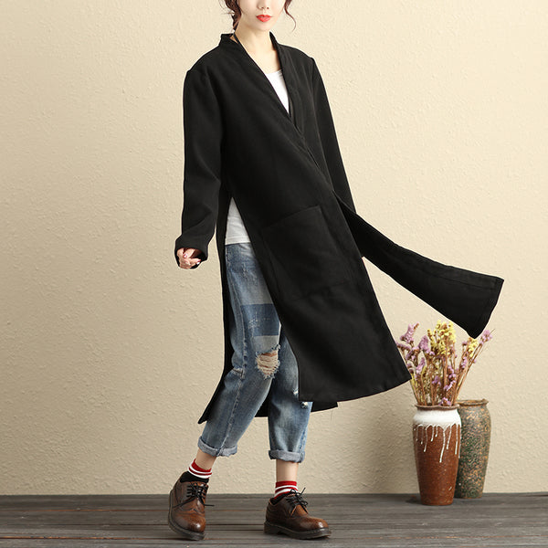 Women Long Sleeve Pockets Slit Solid Black Coat