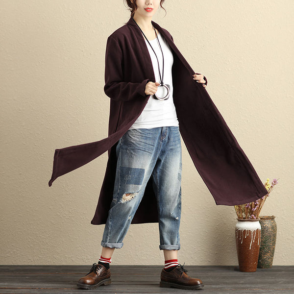 Women Long Sleeve Pockets Slit Wine Red Coat