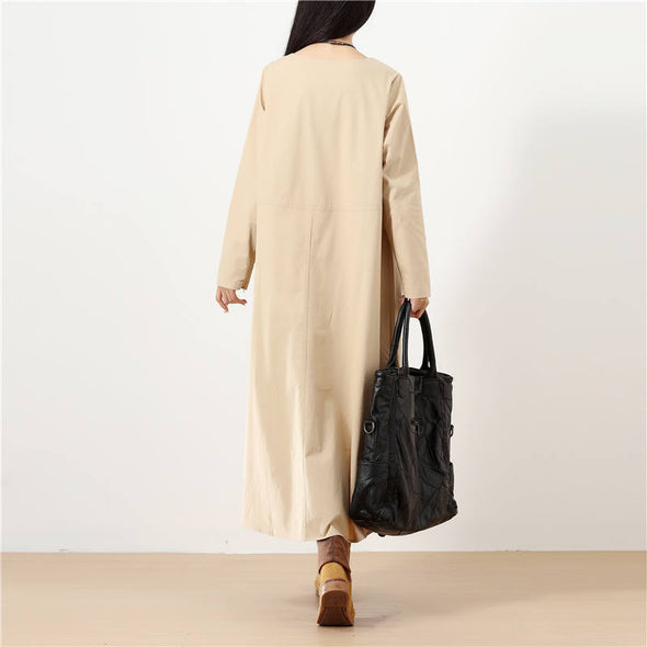 Splicing Long Sleeves Big Pockets Solid Light Khaki Women Dress - Buykud