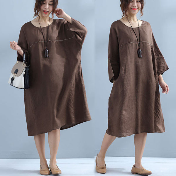 Women Linen Loose Casual Simple Brown Dress - Buykud