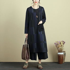 Women Two Pieces Long Printing Shirt Wide Leg Pants - Buykud