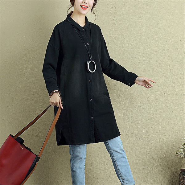Casual Loose Chic Women Split Black Denim Shirt - Buykud