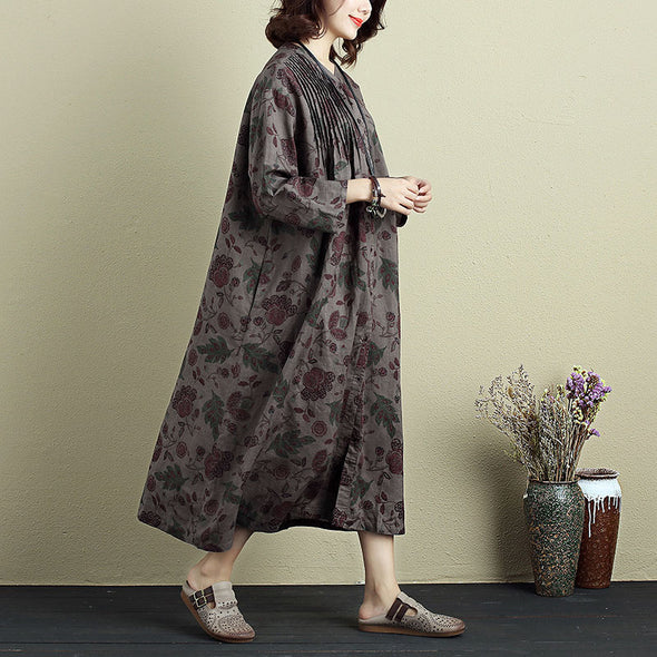 Vintage Women Floral Printing Single Breasted Coffee Folded Dress - Buykud