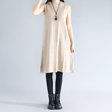 Autumn Women Round Neck Sleeveless Splitting Knitted Beige Sweater Dress - Buykud