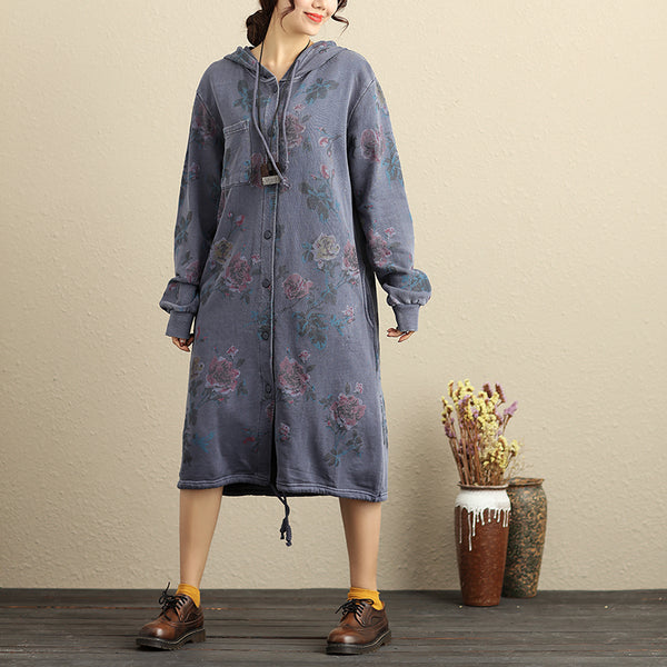 Single Breasted Long Sleeve Hooded Women Blue Floral Printing Coat - Buykud
