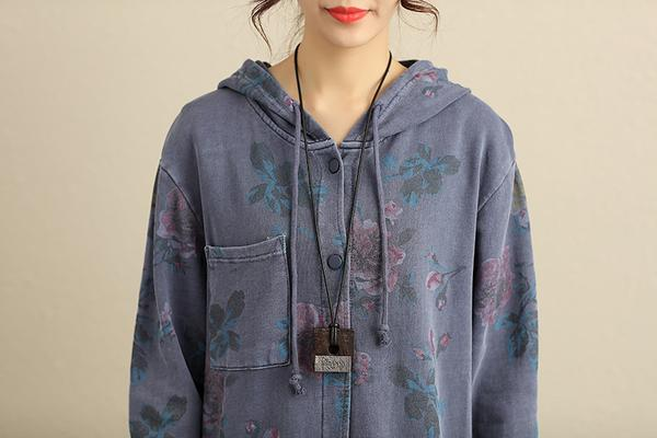 Hoodies Single Breasted Floral Printed Women Gray Coat