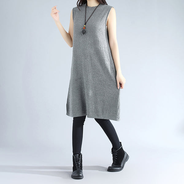 Autumn Women Round Neck Sleeveless Splitting Knitted Gray Sweater Dress - Buykud